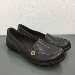 CLARKS Dark Brown Leather Flats Loafers Shoes 6.5
